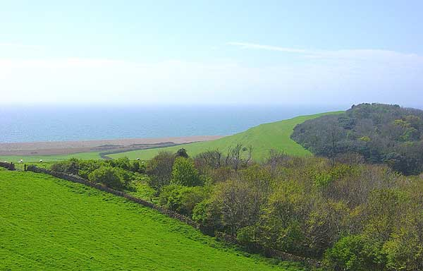 Abbotsbury - view of the sea from Chapel Hill, by Andrew Green