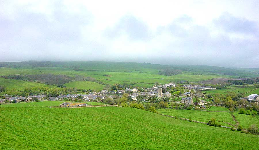 Abbotsbury - view from Chapel Hill to the south of the village, by Andrew Green
