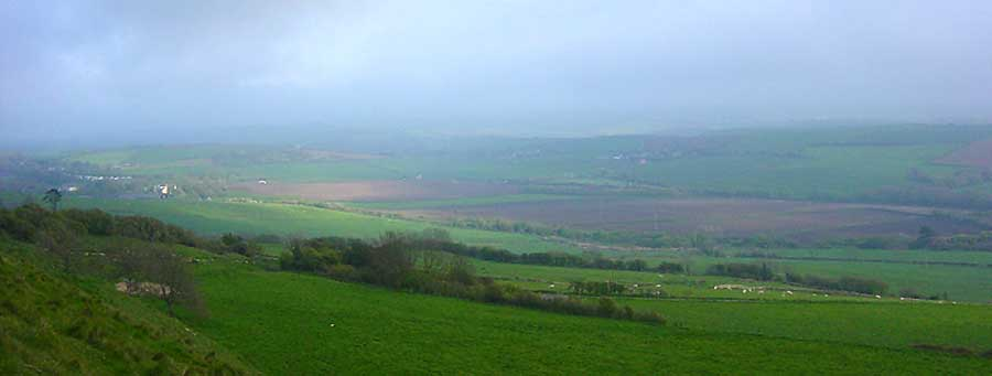Abbotsbury - view from the ridgeway to the north of the village, by Andrew Green